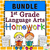 First Grade ELA Homework Bundle with Digital Option for Di