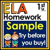 First Grade Language Arts Homework - Free Sample