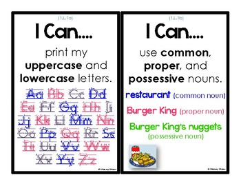 """First Grade English/Language Arts - 63 """"I Can Statements"""" (Common Core Aligned)"""
