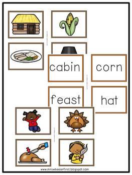 First Grade Language: Thanksgiving Parts of Speech Sort