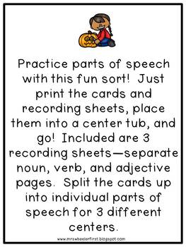 First Grade Language: Halloween Parts of Speech Sort