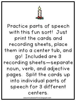 First Grade Language: Christmas Parts of Speech Sort