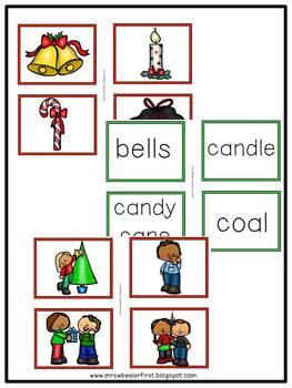 First Grade Language: Christmas Parts of Speech Sort
