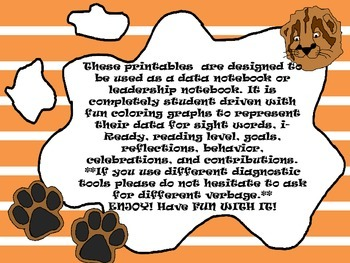 Kindergarten-First Grade Leadership Notebook and Data Binder: Roaring Cougar