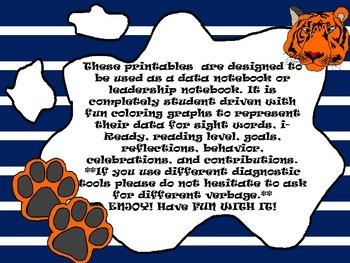 Kindergarten-First Grade Leadership Notebook and Data Binder: Roaring Tiger