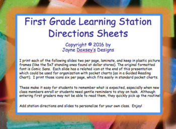 First Grade Learning Stations Directions