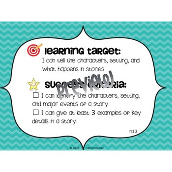 First Grade Learning Targets & Success Criteria Posters: English Language Arts
