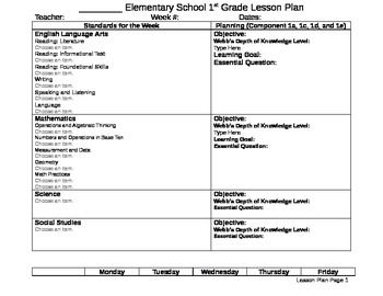 First Grade Lesson Plan (CCSS)