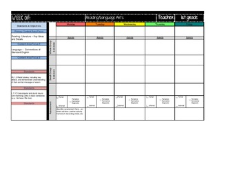 First Grade Lesson Plan Template~Drop Down/Select *Editable