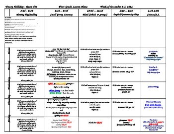 First Grade Lesson Plan for the first Semester 2012 (August-December)