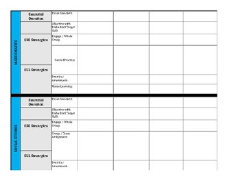 First Grade Lesson Planner - Florida Standards and ESE/ESOL Codes Embedded