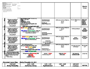 First Grade Lesson Plans for the WHOLE First Semester Aug-Dec 2013