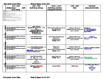First Grade Lesson Plans for the WHOLE First Semester Aug-