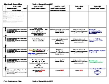 First Grade Lesson Plans for the WHOLE YEAR for 2013-2014