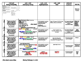 First Grade Lesson Plans for the second semester Jan-May 2014