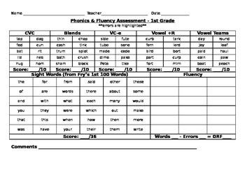 First Grade Literacy Assessment