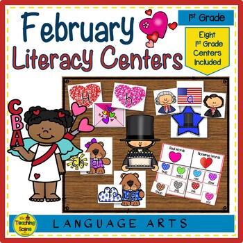 First Grade Literacy Centers: Eight February Themed Centers & Activities