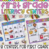 First Grade Literacy Centers - Digraphs, Blends, Compound Words, Nouns