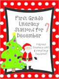 First Grade Literacy Stations for December with BONUS Calendar Pieces Set