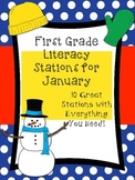 First Grade Literacy Stations for January (10 Ready to Go Engaging Stations)