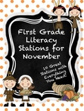 First Grade Literacy Stations for November with BONUS November Calendar Set