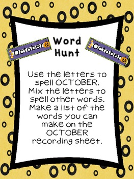 First Grade Literacy Stations for October with BONUS Calendar Pieces