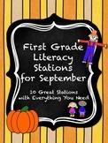 First Grade Literacy Stations for September with BONUS Sept  Calendar Pieces