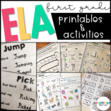 Back to School First Grade Literacy Centers and Worksheets Bundle