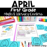 First Grade Literacy and Math Centers April