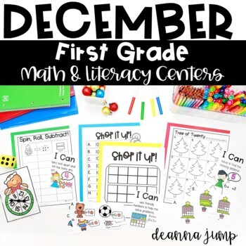 First Grade Literacy and Math Centers December