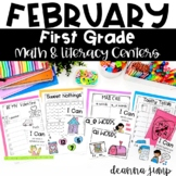 First Grade Literacy and Math Centers February