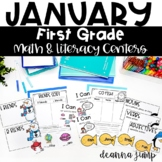 First Grade Literacy and Math Centers January