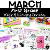 First Grade Literacy and Math Centers March