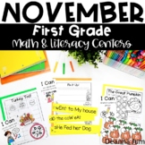 First Grade Literacy and Math Centers November