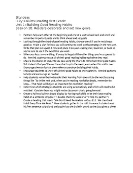 First Grade Lucy Calkins List of Big Ideas Reading Unit 1 - fully editable