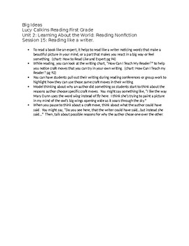 First Grade Lucy Calkins List of Big Ideas Reading Unit 2 – fully editable