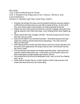 First Grade Lucy Calkins List of Big Ideas Reading Unit 3 – fully editable
