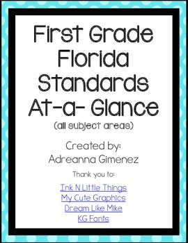 Florida First Grade Standards At-a-Glance