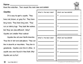 First Grade Main Idea and Details Nonfiction Comprehension Passages