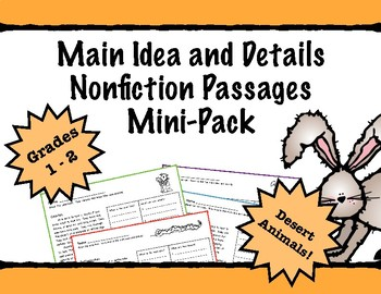 First Grade Main Idea and Details Nonfiction Comprehension - Desert Animals