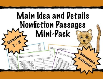 First Grade Main Idea and Details Practice Passages - Mountain Animals