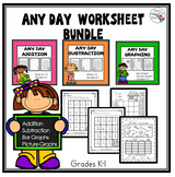 Math Worksheets Bundle (Addition, Subtraction and Graphing)
