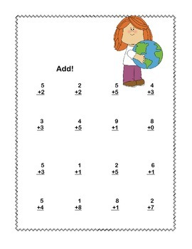 First Grade Math Addition & Subtraction Within 20 Worksheets Earth Day Theme