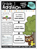 First Grade Math Addition Unit: 20 Printable Math Centers + 90 NO PREP Worksheet