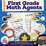 First Grade Math Agents: Common Core Aligned Math Print and Go