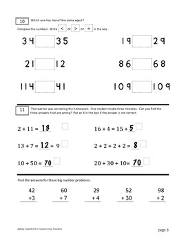 First Grade Math Assessment #4, day 180 (end of year)