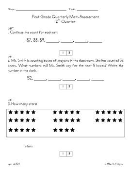 First Grade Math Assessment Second Quarter