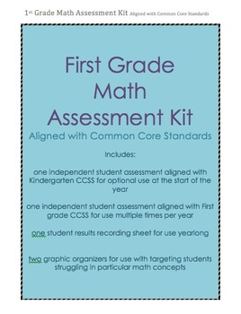 First Grade Math Assessment aligned with CCSS--yearlong, record log, grouping