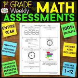 1st Grade Math Assessments | 1st Grade Math Quizzes EDITABLE