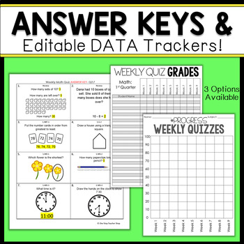 1st Grade Math Assessments | Weekly Spiral Assessments for ENTIRE YEAR
